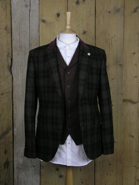 Gibson London Green Mix Check Blazer Jacket