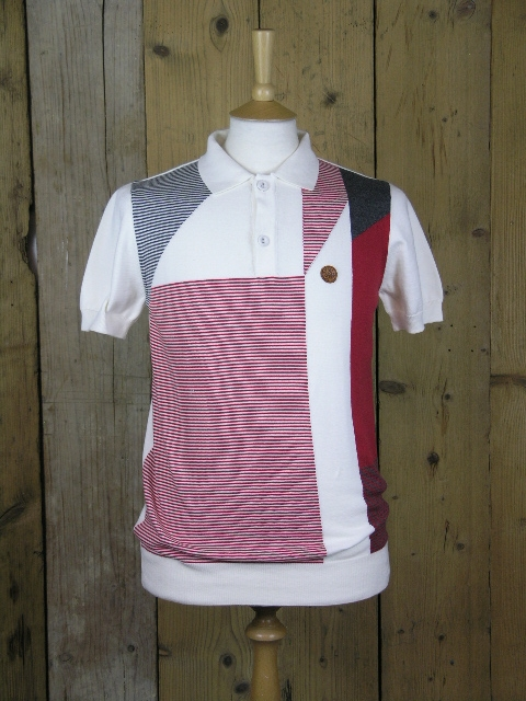Ska & Soul Ecru Abstract Knitted Polo SS2154