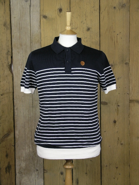 Ska & Soul Navy Striped Knitted Polo SS2155