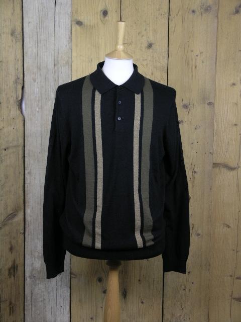 Ben Sherman Black Colour Block Knit Polo 0051448