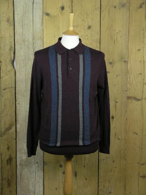 Ben Sherman Wine Colour Block Knit Polo 0051448