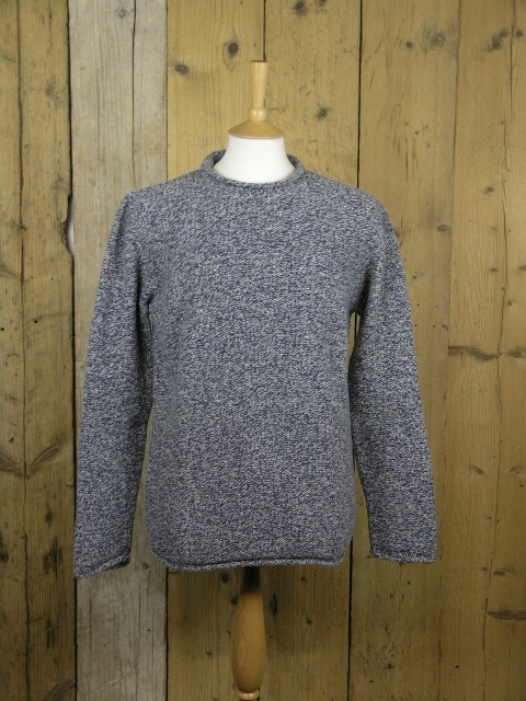 Fisherman Out Of Ireland Blue Roll Crew Neck Knit FDB34T/204