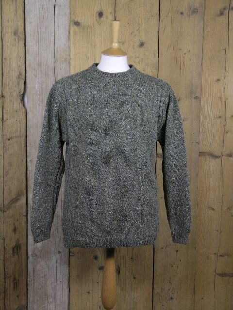 Fisherman Out Of Ireland Moss Green Crew Neck Knit FD13M/201