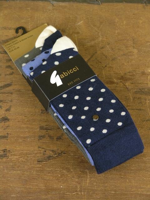 Gabicci Vintage Navy Sky Khaki Polka 3 Pack Socks AGABSS06