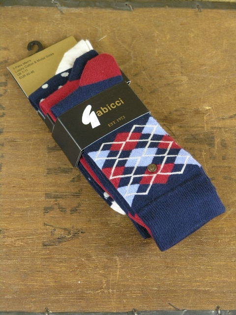 Gabicci Vintage Navy Red White 3 Pack Socks AGABS04