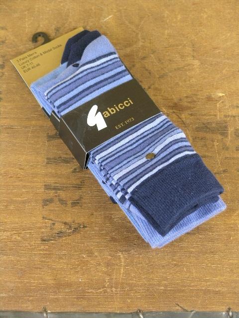 Gabicci Vintage Multi Blue 3 Pack Socks AGABS03