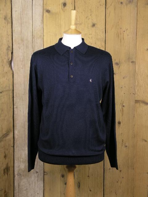 Gabicci Vintage Francesco Navy Knitted Polo V41GK08
