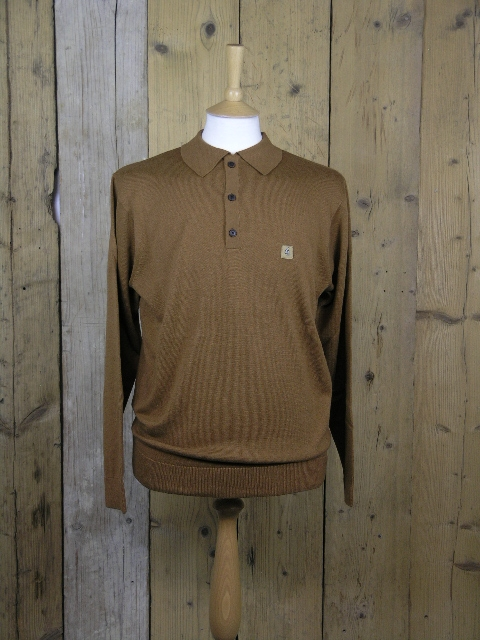 Gabicci Vintage Francesco Toffee Knitted Polo V41GK08