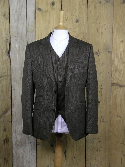 Gibson London Coffee Herringbone Jacket G18212TGJ
