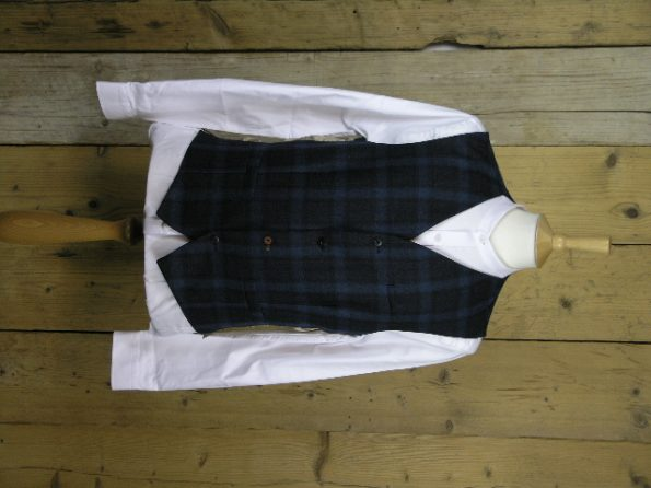 Gibson London Teal Tartan Waist Jacket G18216FW