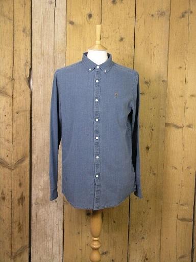 Farah Brewer Indigo Stone Wash Shirt F4WF8005