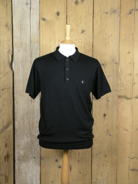 Gabicci Jackson Knitted Black Polo V42GK04